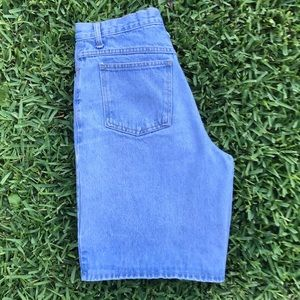 Vintage light wash high waisted long Jean Shorts!